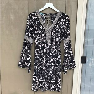 [Maurices] Black Floral Bell Sleeve Midi Dress